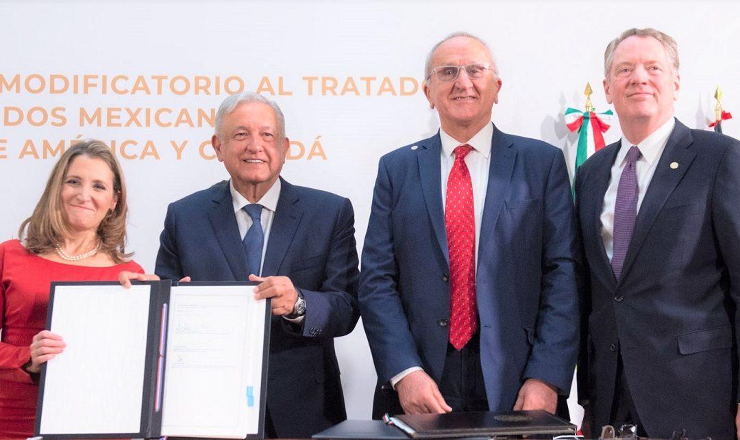FIRMAN MODIFICACIONES AL T-MEC EN PALACIO NACIONAL