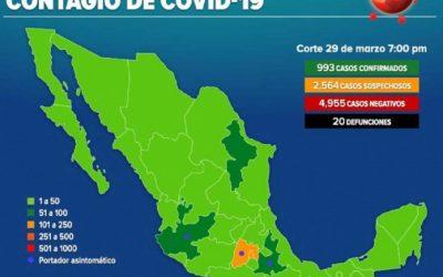 EN MÉXICO LLEGAMOS A 993 CASOS DE COVID-19 Y 20 MUERTES