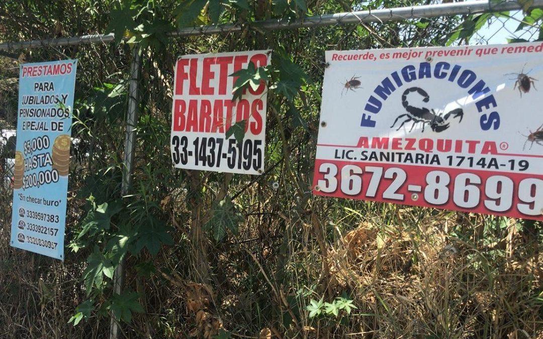 GDL RETIRA MÁS DE 460 ANUNCIOS COLOCADOS EN MOBILIARIO URBANO